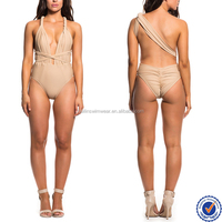 Newly designs wholesale long strap fashionable one piece swimsuit/bodysuit women
