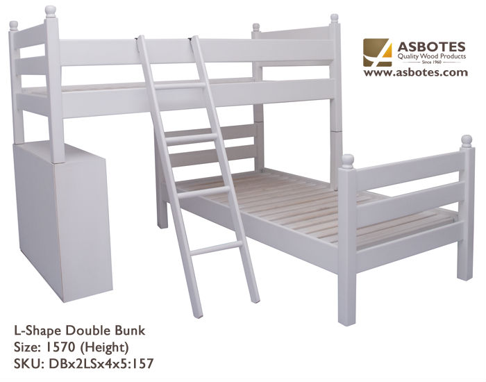 BED - L/Shaped Duble Bunk with Cabinet