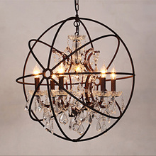 American style Crystal tree round globe rust Iron ball shade chandelier pendant lamp for shop coffee hotel