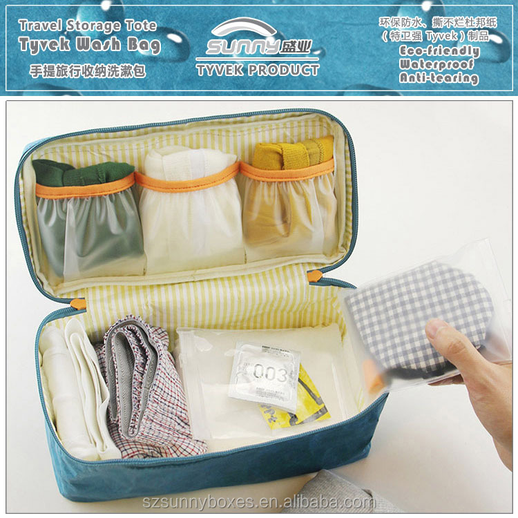 Custom Moistureproof Tyvek Paper Bra Socks Underwear Tote Travel Wash Organizer Bag