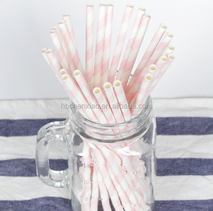 biodegradable flexible tall light pink striped paper drinking straws bulk for smoothies/bars