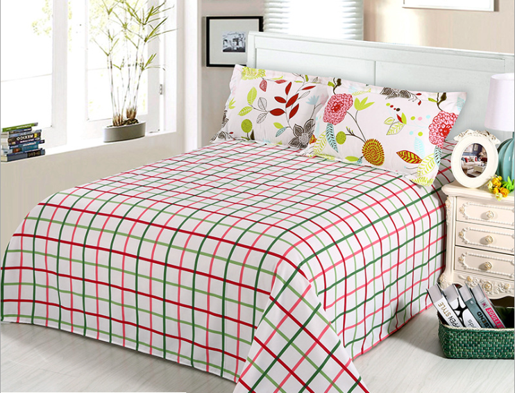 Manufacture new plaid home hotel fashion design cotton bed sheet