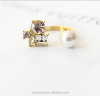 latest gold finger ring designs,cheap pearl finger open ring gold ring design for grils(SWTPR1630)
