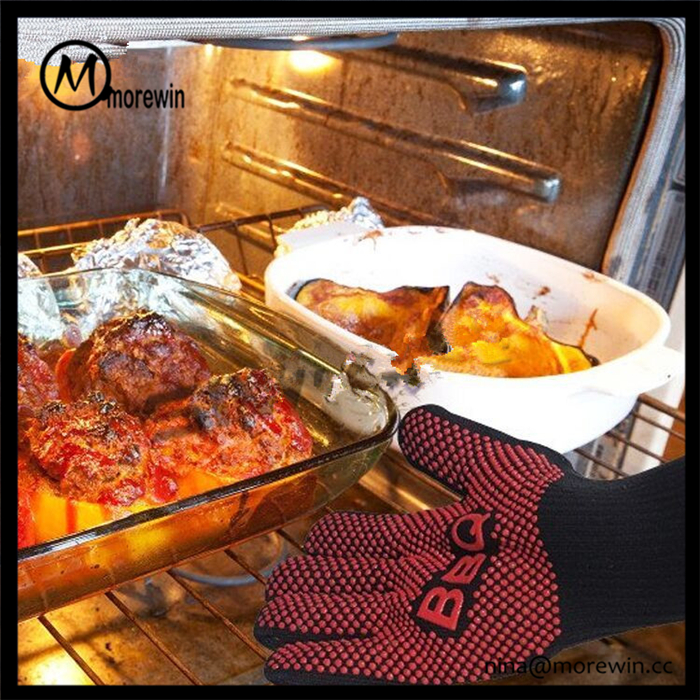 Morewin brand top quality custom red bbq gloves silicone oven gloves with fingers