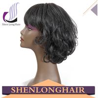 Synthetic black and grey mixed natural looking cheap lace wig for black women