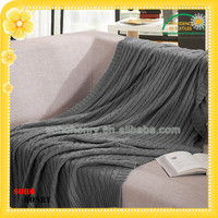 2016 Wholesale 100% Cotton Cable Knit Adult Sofa TV Throw Blanket Factory China Any Color All Size Customizable