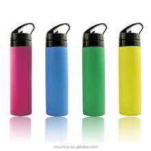 custom bpa free silicone sports water bottle portable collapsible gym water bottle