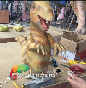 New product animatronic dinosaur puppet baby with wooden