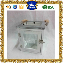 2016 New design luxury white candle holder rectangle hurricane lanterns with hemp rope