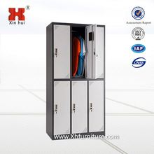 Chinese flat pack 6 door metal locker room bench for changing room