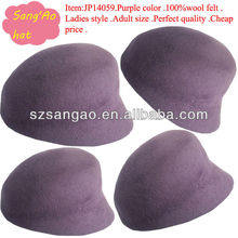 wholesale Purple Kintted beret cap 100% wool in winter