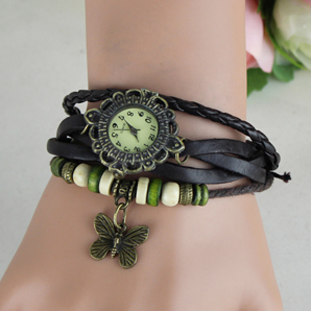 Fashion Women Vintage Leather Wrist One Dollar Watches With Butterfly Pendant
