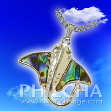 Paua Shell Jewelry Stingray Pendant Necklace