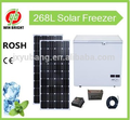 Factory outlet 268L Solar Freezer, DC 12V, chest door, Icebox