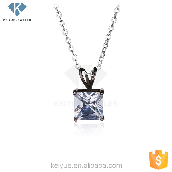 A favorite breakthrough of tradition square shape cz 925 silver single big stone pendant