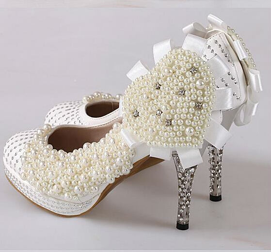 D15144A 2014 Pearl diamond red bride crystal lace wedding high heel shoes