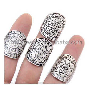 Silver Vintage Tribal Indian Mayan Calendar Aztec Band Rings