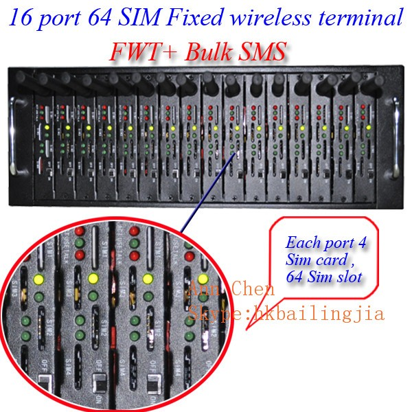 Professional VOIP +bulk sms 8 port 32 sim Fixed Wireless Terminals/FWT GSM modem pool with IMEI changing(Getway)