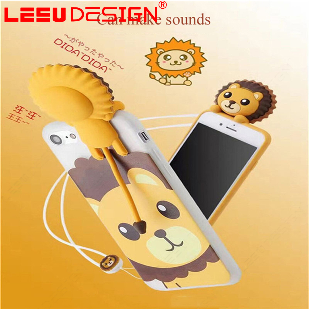 Factory direclty supply make sounds lion animal covers phone hybrid silicone case for iphone 6