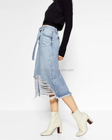 K2249A Africa Styles Fancy Skinny Jeans Skirts Woman Long Damaged Denim Skirts 2017