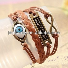 Fashion leather cord bracelet for women with evil eye style