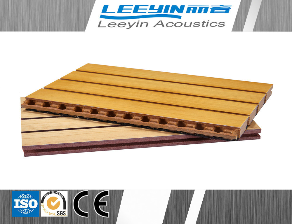 2015 hot sale decorative acoustic groove thin wood panel for auditorium