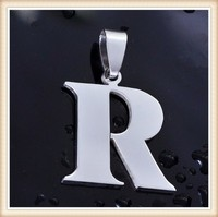Wholesale High Polish Stainless Steel Alphabet Letter 'R' Necklace Pendant Initial Letter Alphabet Pendant Charm
