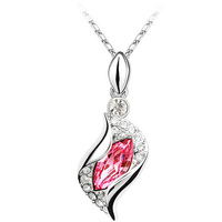 Leaf Shape Design For Party,Various Colors Available Crystal Necklace