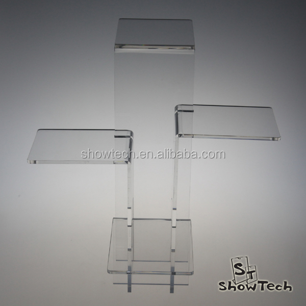 Customic Interlocking Clear Acrylic Risers 4 Tiers Display Stand for Jewelry Store ST-KDRISE4 E
