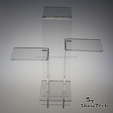 Customic Interlocking Clear Acrylic Risers 4 Tiers Display Stand for Jewelry Store
