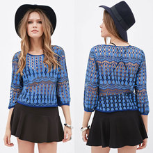 Summer Women Sexy 3/4 Sleeve Lace Hollow Crochet Tops Blue Blouse T Shirt