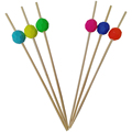 colorful decorative round bead picks bamboo sticks food