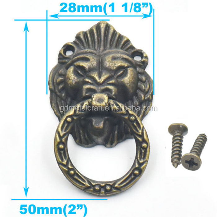 Lion Head Furniture Pull Handle Knob Cabinet Dresser Drawer Ring With Screws