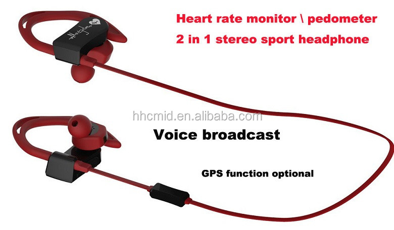 New Products 2016 Heart Rate Monitor+Pedometer Wireless Bluetooth Earphone