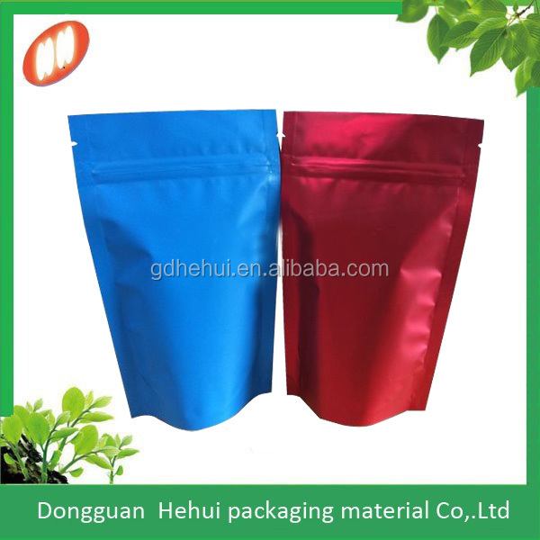 zipper top stand up food packaging aluminum bags