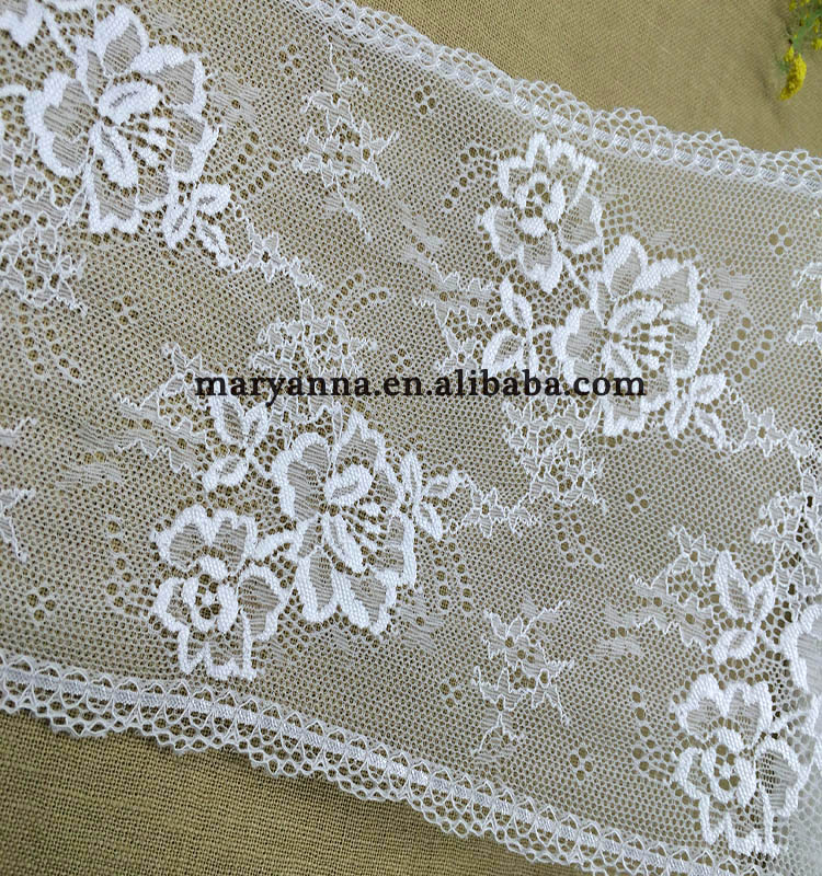 High quality white elastic edging scallop decorative lace trim for bra