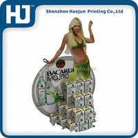 Poster cardboard display stand for Bacardi , supermarket advertising cardboard stand