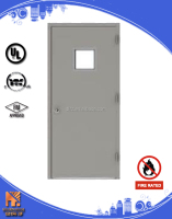 glass insert fire resistant door with cylinder lock