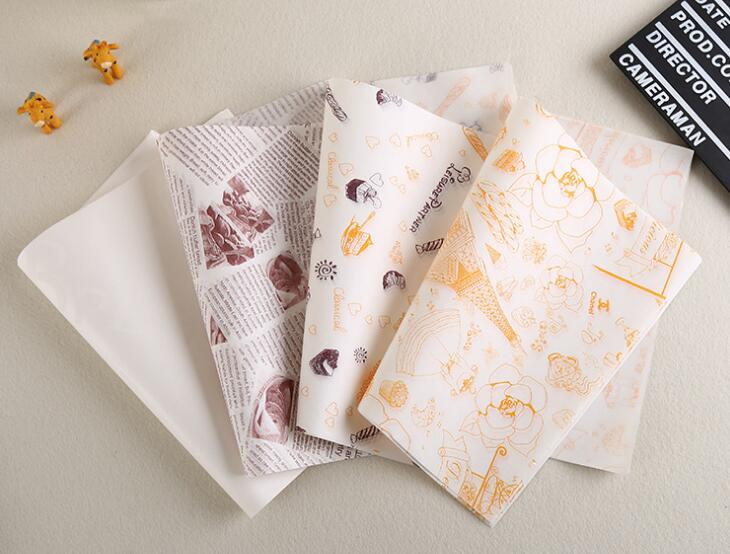 bleached coloured burger wrapping paper wax paper