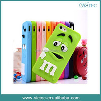 Fashion silicone 3d m&m bean case for iphone 5 5s