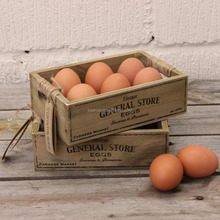General Store Rustic Wooden Egg Storage Crate Holder