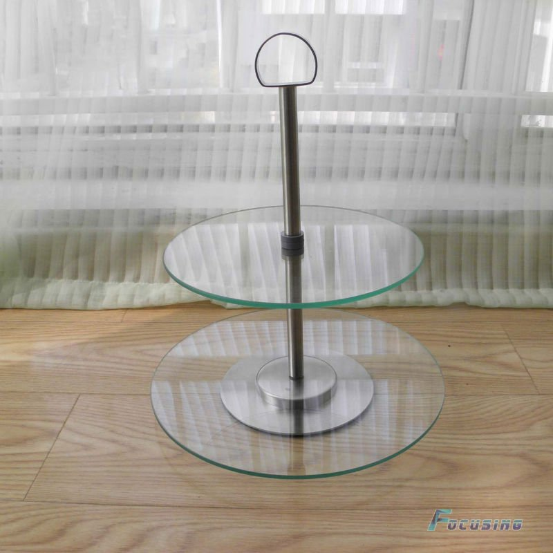 hot-selling 2-layer clear tempered glass cake stand