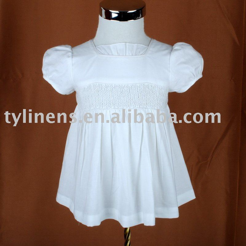 Cotton hand Smocking girl dress