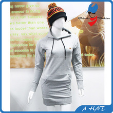 High Quality Cheap Grey Blank Long Hoodies For Women With Pocket