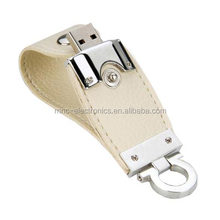 Rectangle shaped 8GB leather USB Drives with embossed logo Grade A quality chip reliable supplier