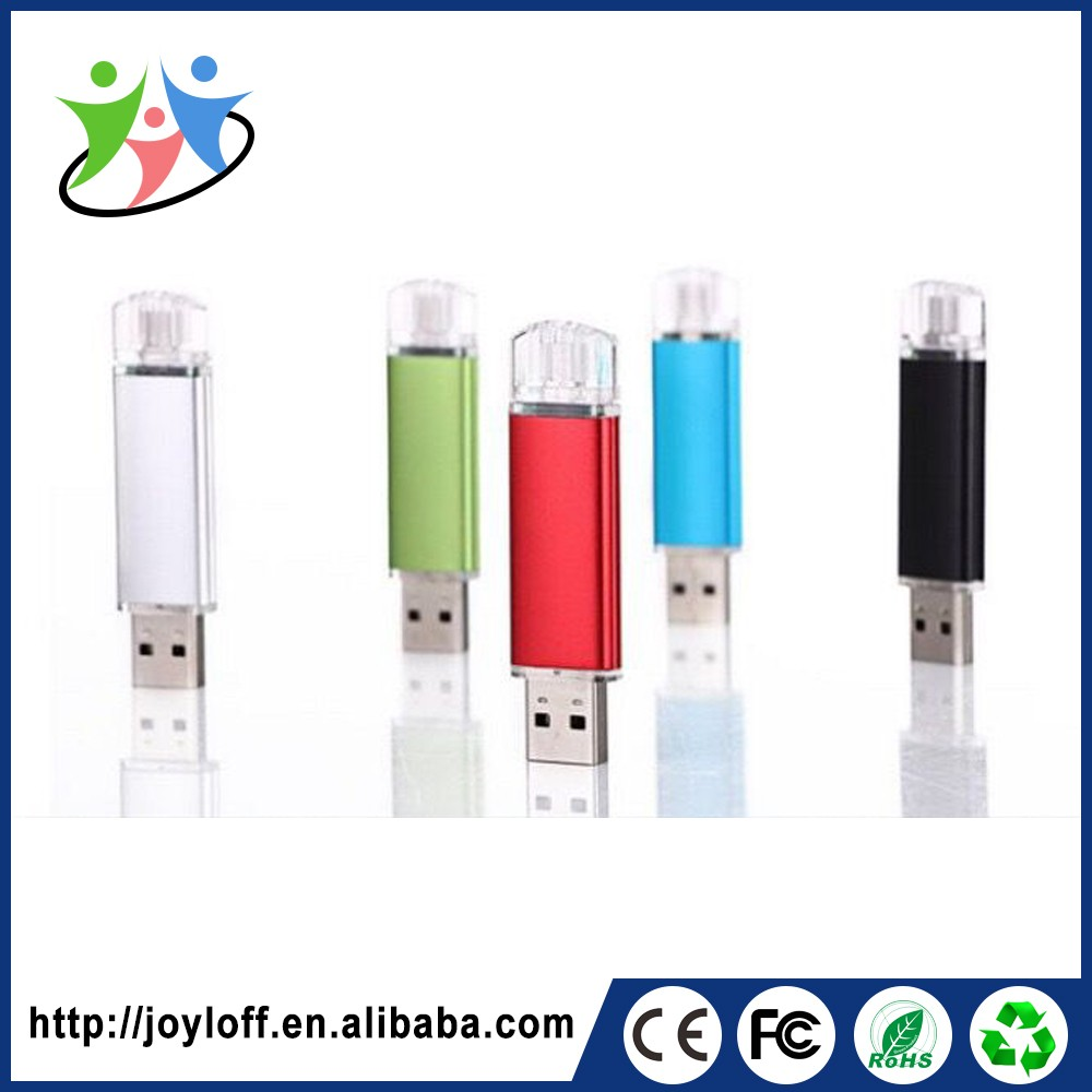 Ex-Factory Price Dual Double Plug Interface Otg Mobile Phone Pc Custom Usb Flash Memory