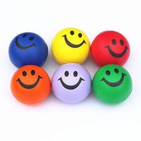 happy smile smiley face bouncy squeeze foam sponge ball pu stress relief toy