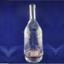 decal logo empty vodka 1000 ml glass bottle with cork stopper