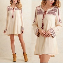 Best Selling Products Linen Dress Shopping Clothes Long Sleeve Mini Dresses For Women Elegant