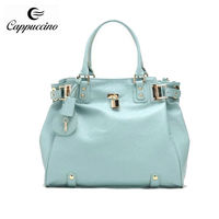 wholesales famous high end quality fashionable pu leather women branded handbag in cheap
